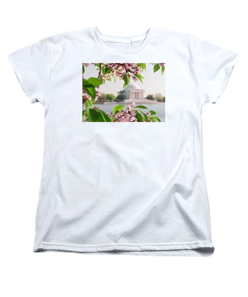 Women's T-Shirt (Standard Cut) featuring the photograph Cherry Blossoms And The Jefferson Memorial by Mitchell R Grosky