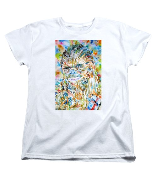 Chewbacca Watercolor Portrait Women's T-Shirt (Standard Cut)