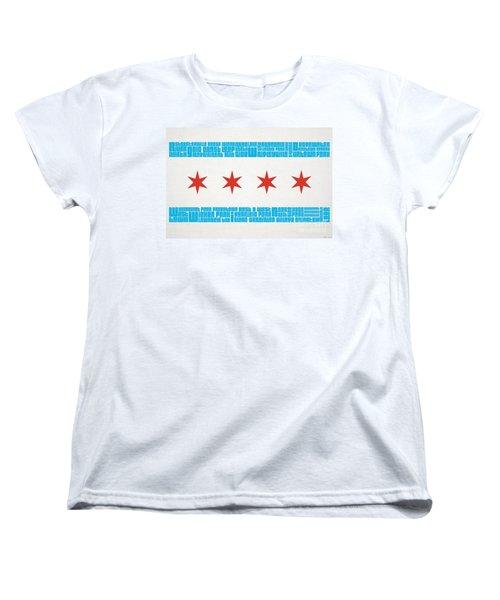 Chicago Flag Neighborhoods Women's T-Shirt (Standard Cut) by Mike Maher