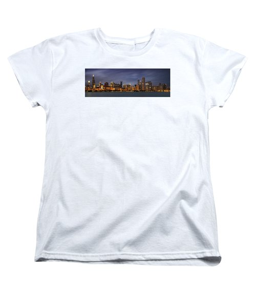 Chicago Skyline At Night Color Panoramic Women's T-Shirt (Standard Cut) by Adam Romanowicz