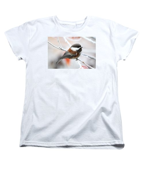 Women's T-Shirt (Standard Cut) featuring the photograph Chickadee In Winter by Peggy Collins
