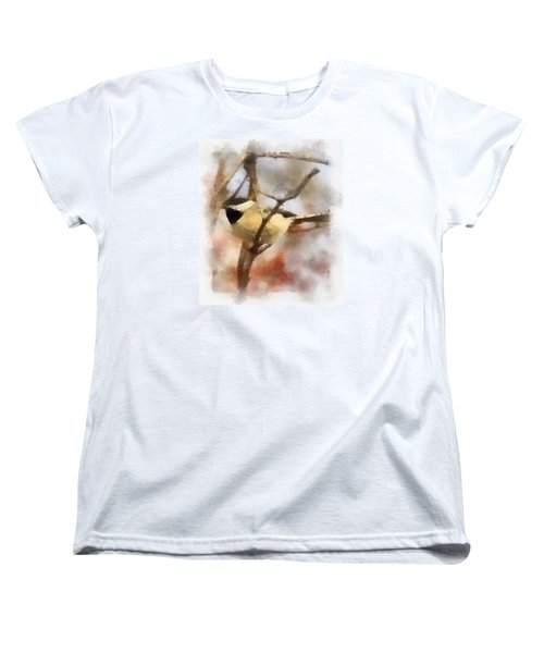Women's T-Shirt (Standard Cut) featuring the painting Chickadee Watercolor by Kerri Farley