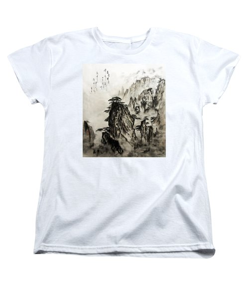 Women's T-Shirt (Standard Cut) featuring the painting Chinese Mountains With Poem In Ink Brush Calligraphy Of Love Poem by Peter v Quenter