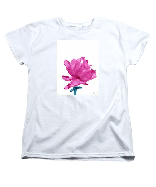 Women's T-Shirt (Standard Cut) featuring the painting Chinese Rose Hibiscus by Frank Bright