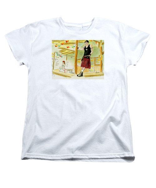 Women's T-Shirt (Standard Cut) featuring the painting Chris At The Broken Spoke Saloon by Albert Puskaric
