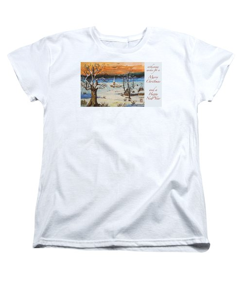 Women's T-Shirt (Standard Cut) featuring the painting Christmas Card Painting by Peter v Quenter