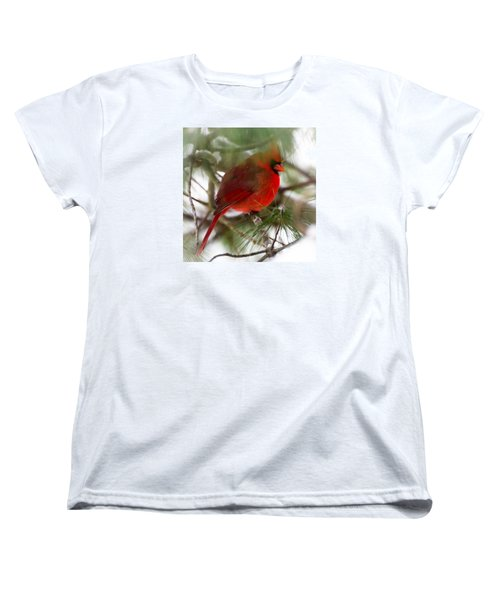 Women's T-Shirt (Standard Cut) featuring the photograph Christmas Cardinal by Kerri Farley
