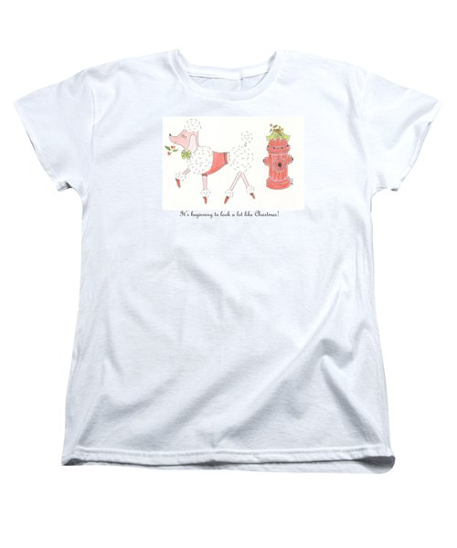 Christmas Poodle Women's T-Shirt (Standard Cut) by Stephanie Grant