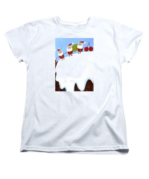 Christmas Pudding And Santas Women's T-Shirt (Standard Cut) by Magdalena Frohnsdorff