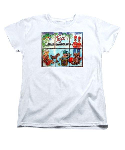 Christmas Window Women's T-Shirt (Standard Cut) by Linda Shackelford