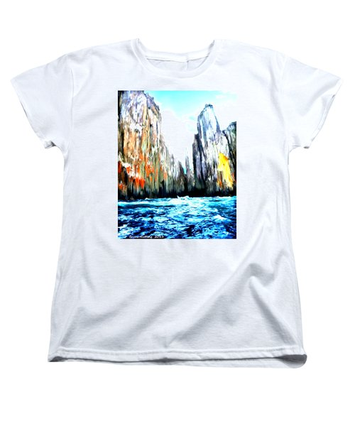 Women's T-Shirt (Standard Cut) featuring the painting Cliffs By The Sea by Bruce Nutting