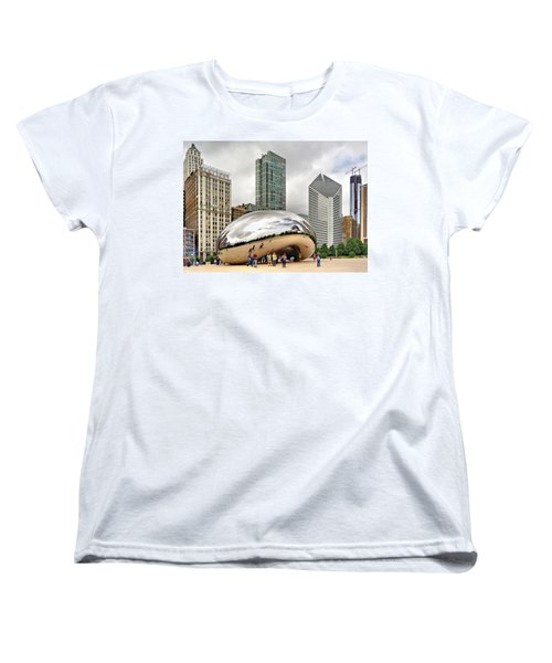 Women's T-Shirt (Standard Cut) featuring the photograph Cloud Gate In Chicago by Mitchell R Grosky