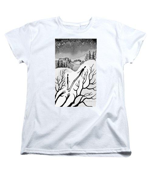 Women's T-Shirt (Standard Cut) featuring the digital art Clutching Shadows by Carol Jacobs