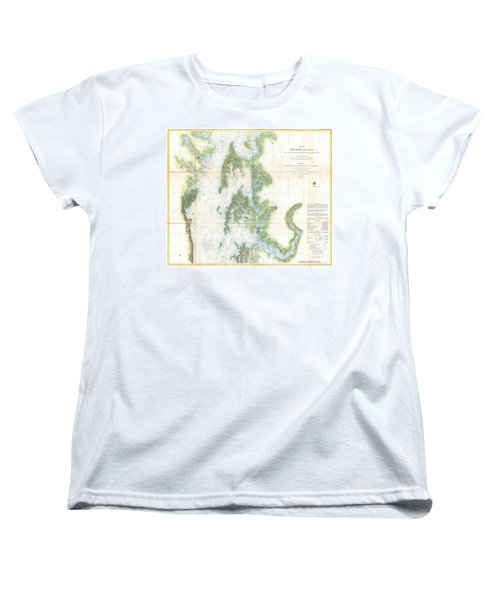Coast Survey Chart Or Map Of The Chesapeake Bay Women's T-Shirt (Standard Cut) by Paul Fearn