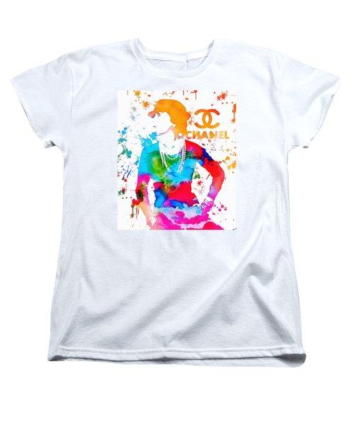 Coco Chanel Paint Splatter Women's T-Shirt (Standard Cut) by Dan Sproul