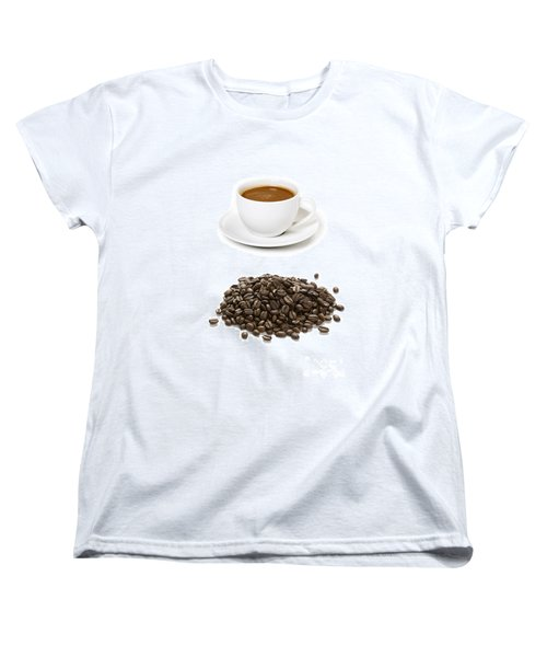 Women's T-Shirt (Standard Cut) featuring the photograph Coffee Cups And Coffee Beans by Lee Avison