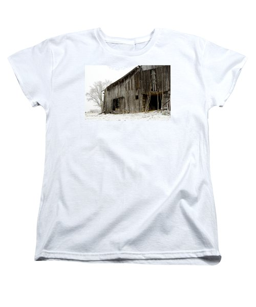 Women's T-Shirt (Standard Cut) featuring the photograph Cold Winter At The Barn  by Wilma  Birdwell