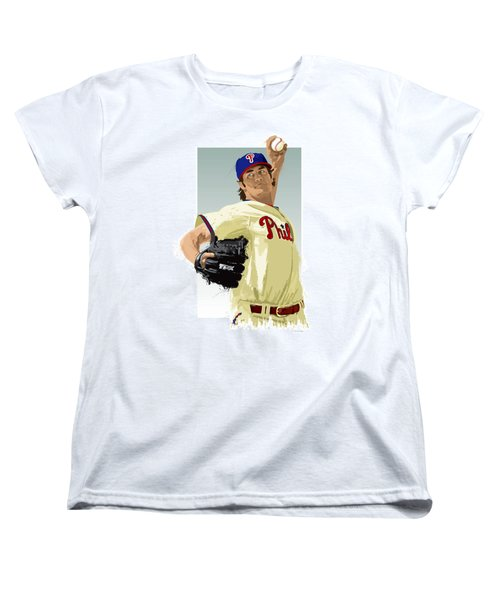 Cole Hamels Women's T-Shirt (Standard Cut) by Scott Weigner