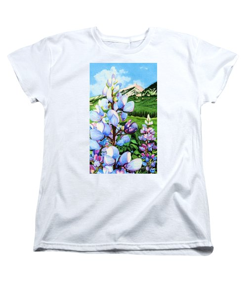 Women's T-Shirt (Standard Cut) featuring the painting Colorado Summer Blues Close-up by Barbara Jewell