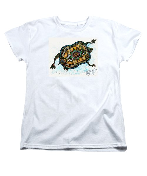 Colored Cultural Zoo C Eastern Woodlands Tortoise Women's T-Shirt (Standard Cut) by Melinda Dare Benfield