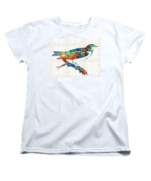 Colorful Bird Art - Sweet Song - By Sharon Cummings Women's T-Shirt (Standard Cut)