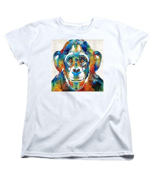 Colorful Chimp Art - Monkey Business - By Sharon Cummings Women's T-Shirt (Standard Cut)