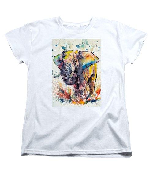 Colorful Elephant Women's T-Shirt (Standard Cut) by Kovacs Anna Brigitta