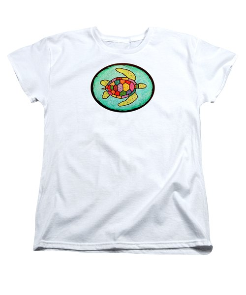 Colorful Sea Turtle Women's T-Shirt (Standard Cut) by Jim Harris