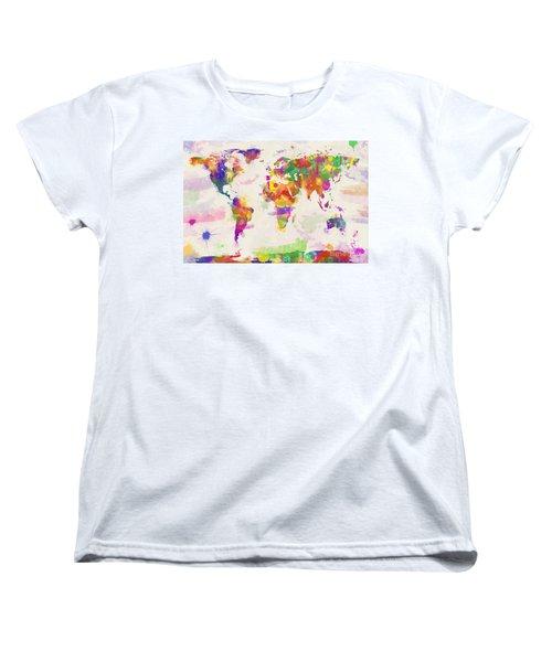 Colorful Watercolor World Map Women's T-Shirt (Standard Cut) by Zaira Dzhaubaeva