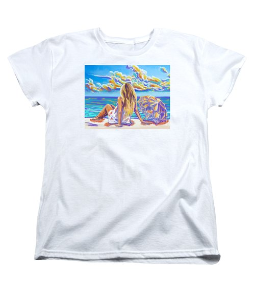 Colorful Woman At The Beach Women's T-Shirt (Standard Cut) by Tim Gilliland