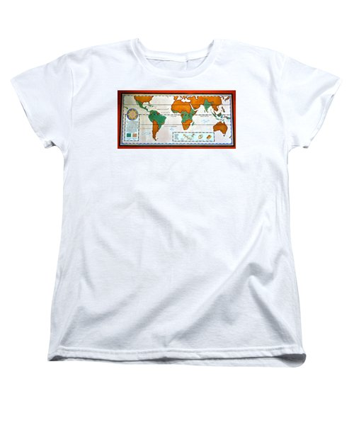 Colorful World Map Of Coffee Women's T-Shirt (Standard Cut) by David Lee Thompson