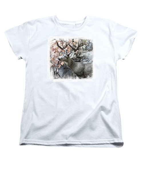 Women's T-Shirt (Standard Cut) featuring the photograph Columbia Blacktail Deer by Aaron Berg