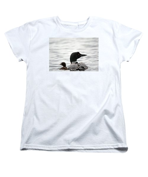 Common Loon And Baby Women's T-Shirt (Standard Cut) by Cheryl Baxter