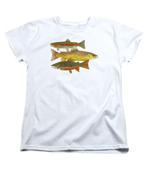 Women's T-Shirt (Standard Cut) featuring the painting Common Trout  Rainbow Brown And Brook by Thom Glace