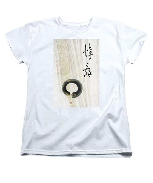 Women's T-Shirt (Standard Cut) featuring the mixed media Condolences Tooji With Enso Zencircle by Peter v Quenter