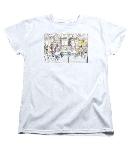 Coney Island Carousel Women's T-Shirt (Standard Cut) by Lilliana Mendez