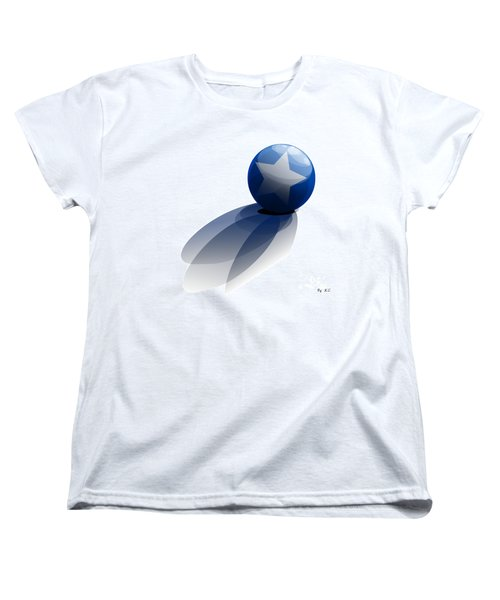 Women's T-Shirt (Standard Cut) featuring the digital art Blue Ball Decorated With Star Grass White Background by R Muirhead Art