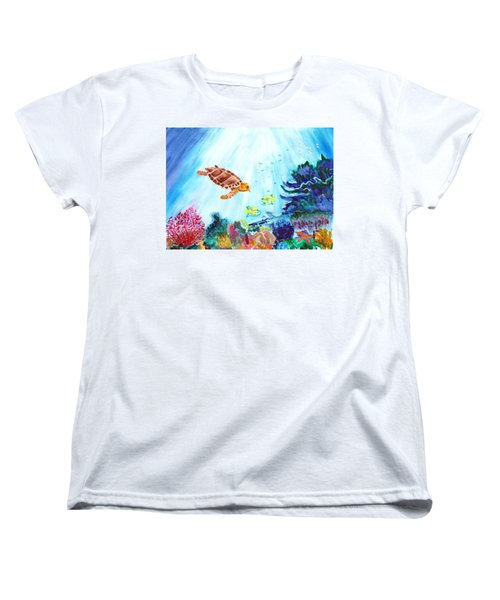 Women's T-Shirt (Standard Cut) featuring the painting Coral Reef by Donna Walsh