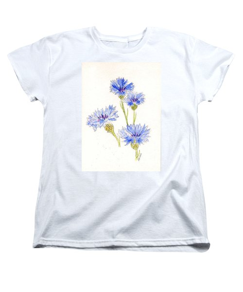 Women's T-Shirt (Standard Cut) featuring the painting Cornflowers by Stephanie Grant