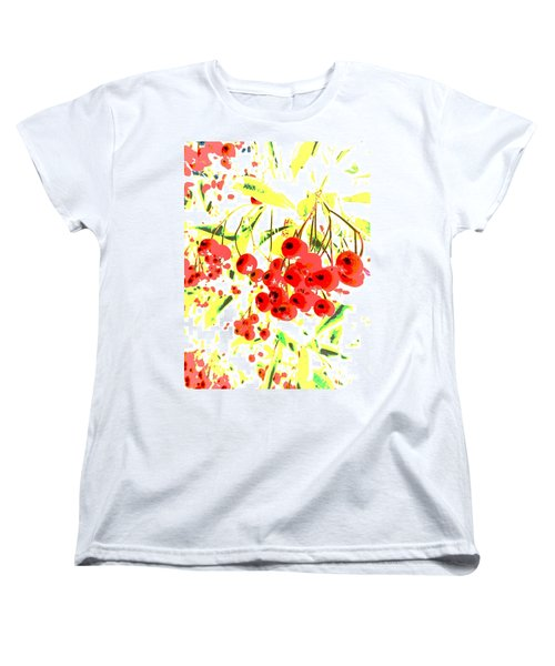 Women's T-Shirt (Standard Cut) featuring the photograph Cotoneaster by Barbara Moignard