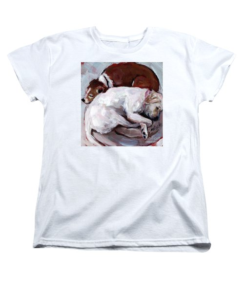 Women's T-Shirt (Standard Cut) featuring the painting Cottonball by Molly Poole