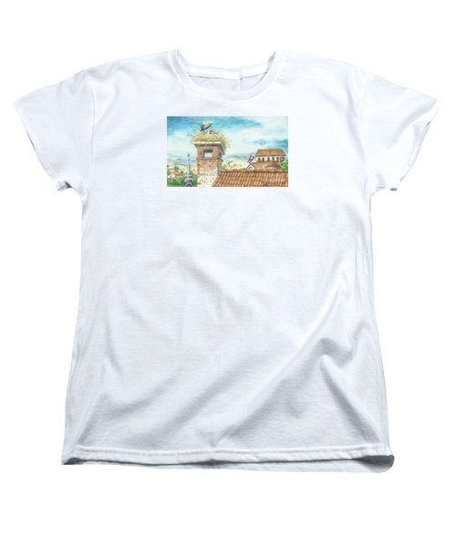 Women's T-Shirt (Standard Cut) featuring the painting Cranes In Croatia by Christina Verdgeline