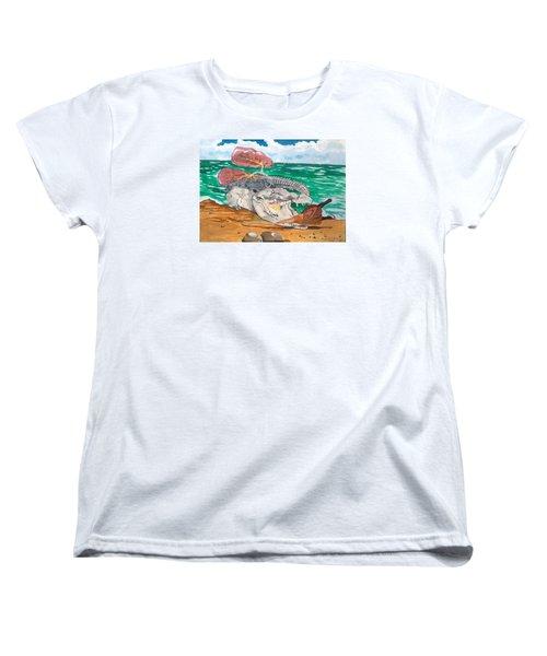Women's T-Shirt (Standard Cut) featuring the painting Crocodile Emphysema by Lazaro Hurtado