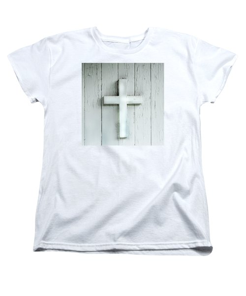 Cross On Holy Angels Sugar Island Michigan Women's T-Shirt (Standard Cut) by Evie Carrier