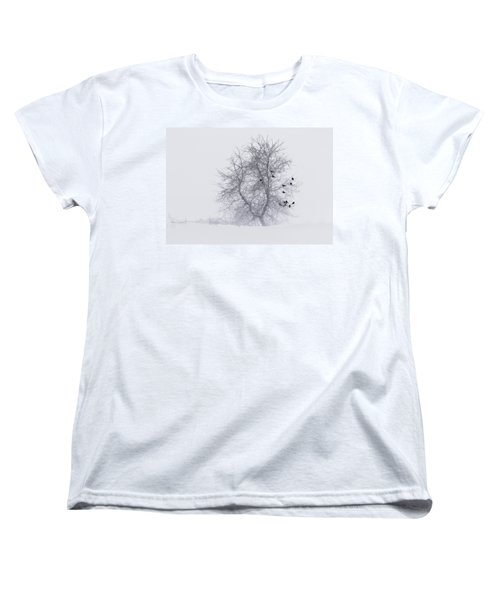 Crows On Tree In Winter Snow Storm Women's T-Shirt (Standard Cut) by Peter v Quenter