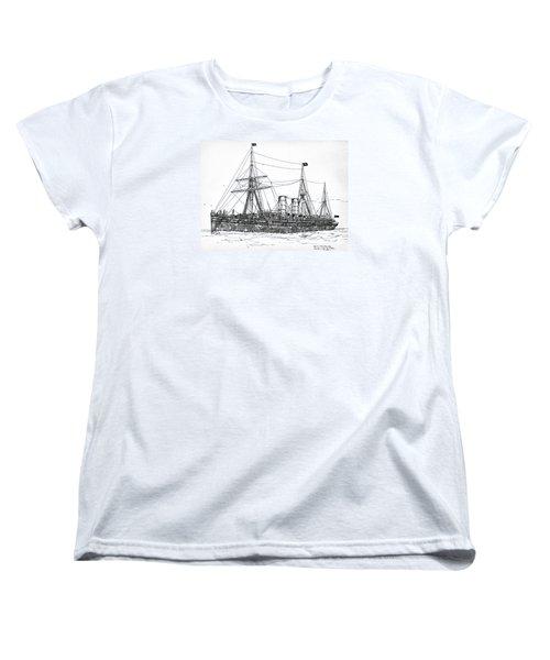 Women's T-Shirt (Standard Cut) featuring the drawing Cunard Liner Umbria 1880's by Ira Shander