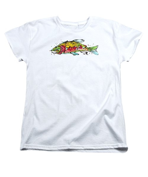 Women's T-Shirt (Standard Cut) featuring the painting Cutthroat Trout by Nicole Gaitan