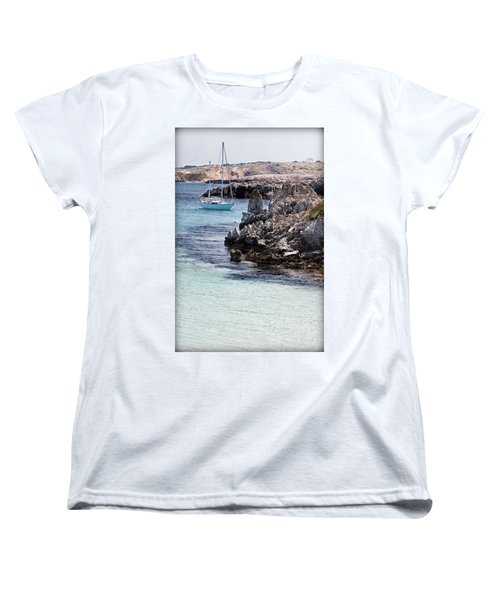 In Cala Pudent Menorca The Cutting Rocks In Contrast With Turquoise Sea Show Us An Awsome Place Women's T-Shirt (Standard Cut)