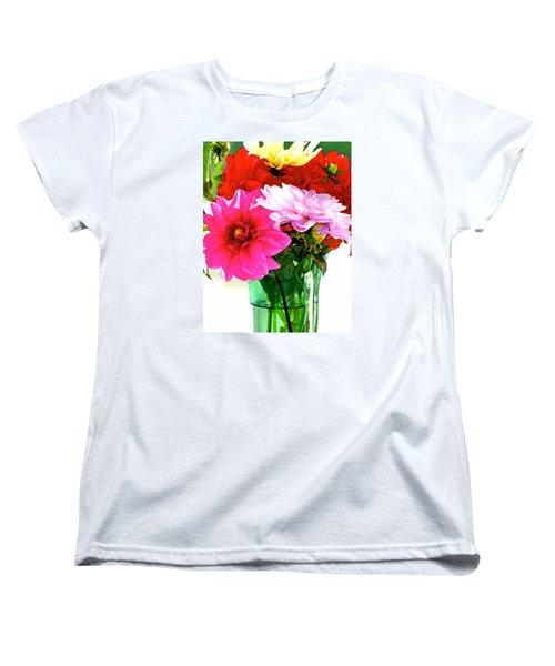 Women's T-Shirt (Standard Cut) featuring the photograph Dahlias In The Sun by Lehua Pekelo-Stearns