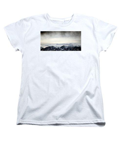 Women's T-Shirt (Standard Cut) featuring the photograph Dark Storm Cloud Mist  by Barbara Chichester